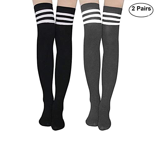 a478fb00b Aispark Womens Knee High Socks Girls Long Striped Over the Knee Thigh High  Stockings Cosplay Socks (Black Grey) at Amazon Women s Clothing store