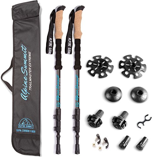 Strong Carbon Fiber Trekking Poles w/ Cork Grips - Collapsible Hiking / Walking Sticks