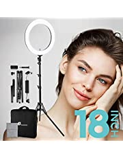 Ring Light, Houzetek Bi-Color 336 LED 65W Ring Light Dimmable and Color Temperature 2700-5500K with Light Stand, Phone Holder, Carrying Bag for Video & Photography, Makeup, YouTube, Selfie