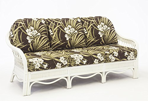 South Sea Rattan Bermuda Sofa in WhiteWash Finish, Grasmere Cocoa (Rattan Bermuda)