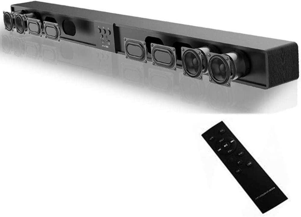 Soundbar Sound Bar for TV Channel 5.1 80W Soundbar for TV with Bluetooth 4.0 and Wired Connections Home Theater Audio Speaker with Deep Bass Black Excellent