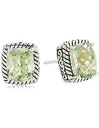 Effy Womens 925 Sterling Silver Green Amethyst Stud Earrings, Green, One Size