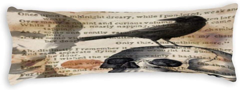 Body Pillowcase, Edgar Allan Poe The Raven Skull Extra Long Body Pillow Covers Cases 20