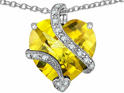 Star K Large 15mm Heart Shape Simulated Citrine Love Pendant Necklace Sterling Silver ()