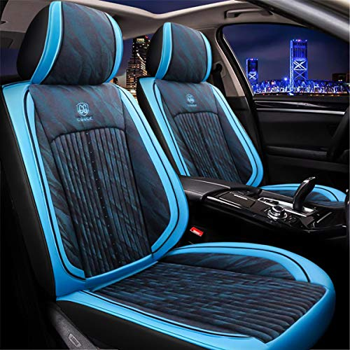 - Sunluway 15 PCS Universal Leather Car Seat Cushion Cover Front and Rear Full Set Seat Pad Protector with Health Care Headrest for Year-Round Use (Airbag Compatible)