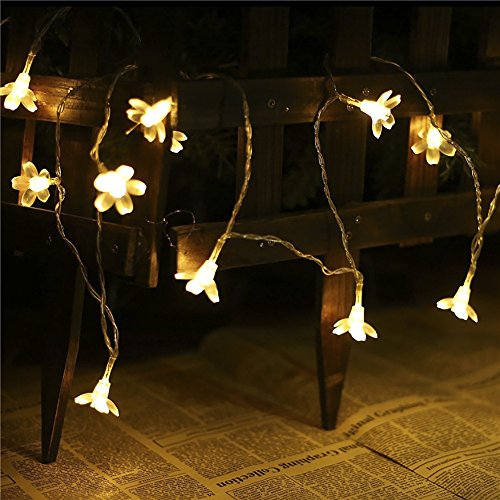 GreenClick Outdoor solar powered string lights waterproof Blossom Flower 23 FT 50 LEDs fairy Decorative lighting for Xmas Chrismas wedding party, warm white