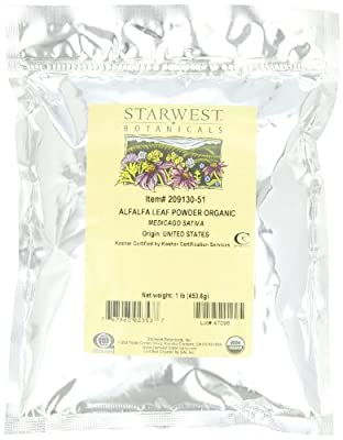 Starwest Botanicals Organic Egyptian Alfalfa Leaf Powder, 1 Pound Bulk Bag (Pack of 2)