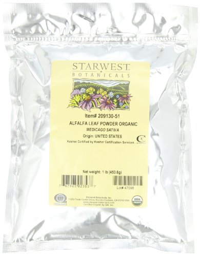 Starwest Botanicals Organic Egyptian Alfalfa Leaf Powder, 1 Pound Bulk Bag (Pack of 2)