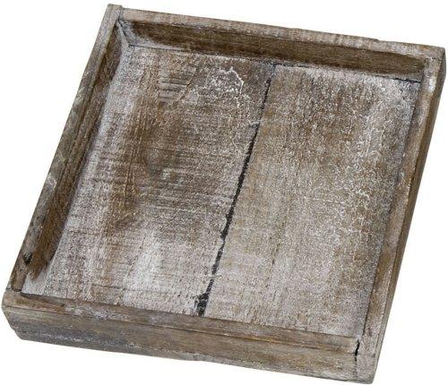 Kerzentablett dunkles altes Holz braun- grau gekälkt 20 x 20 cm