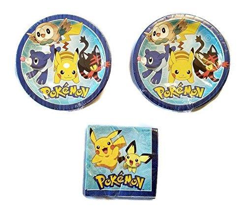 Pokemon Party Bundle 9'' Plates (16) Napkins (16) by Celebration Party Supply