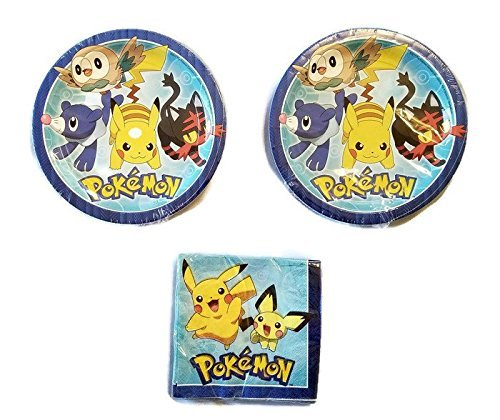 Pokemon Party Bundle 9'' Plates (16) Napkins (16)