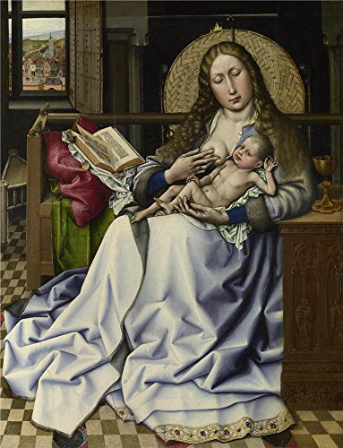 Insight Futon Cover (Oil Painting 'Follower Of Robert Campin - The Virgin And Child Before A Firescreen,about 1440' 10 x 13 inch / 25 x 33 cm , on High Definition HD canvas prints, gifts for Bar, Hallway And Home decor)