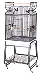 HQ\'s Opening Scroll Parrot Cage with Cart Stand, Small, Platinum, 1 Per Box