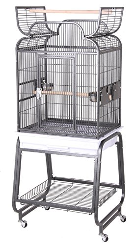 HQ's Opening Scroll Parrot Cage with Cart Stand, Small, Plat