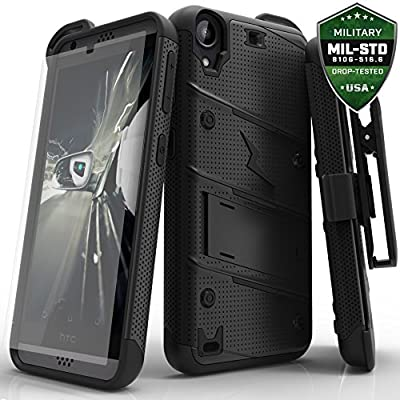 HTC Desire 530 Case, Zizo [Bolt Series] w/ FREE [HTC Desire 530 Screen Protector] Kickstand [Military Grade Drop Tested] Holster Clip - HTC Desire 530
