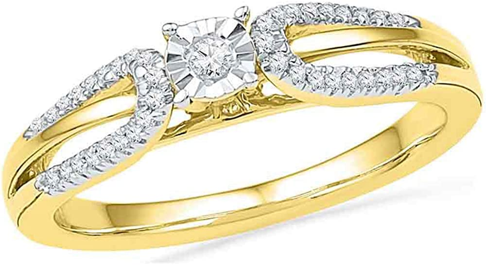 IdealCutGems-JSS 10kt Yellow Gold Engagement Ring for Her Round Solitaire Open-Shank Wedding 1//6 cttw Diamond