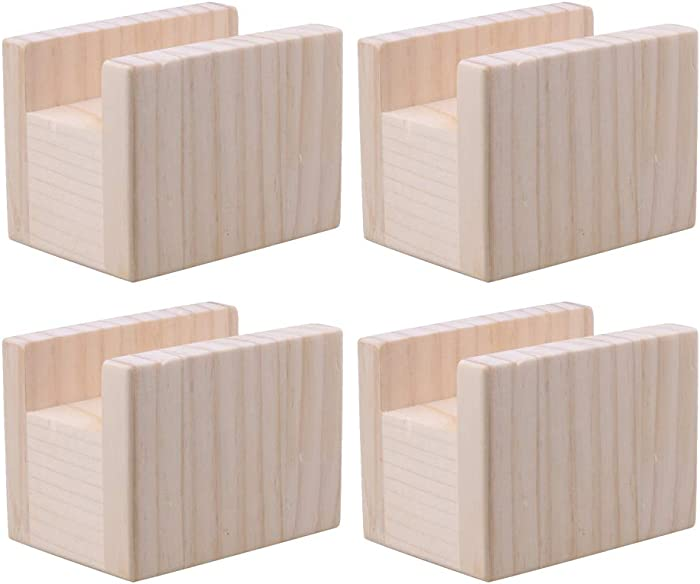 4 PCS 10x7x8.5cm Furniture Lifter Storage Nature Color Wood Table Desk Bed Riser Lift for 4cm Groove Width Feet Up to 5cm Lift