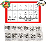 360PCS Stainless Steel Lock Washers Assortment Flat Washers Assortment Kit For (M2 3 4 5 6 8)