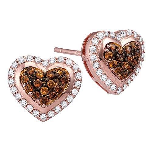 Jewel Tie Solid 10k Rose Gold Round Chocolate Brown Diamond Heart Cluster Screwback Earrings (1/2 ()