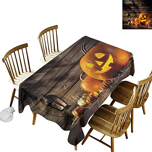 (one1love Custom Tablecloth Halloween Grinning Face of Pumpkin Resistant/Spill-Proof/Waterproof Table Cover 54