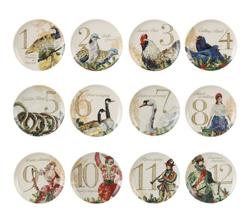 creative co op twelve days of christmas plates set amazoncouk kitchen home