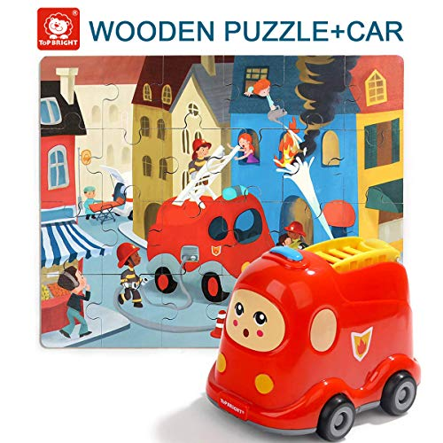 TOP BRIGHT Floor Puzzles for Kids , 24 Pieces Puzzles for Kids Cars , Educational Puzzles for Toddler-Fire Truck