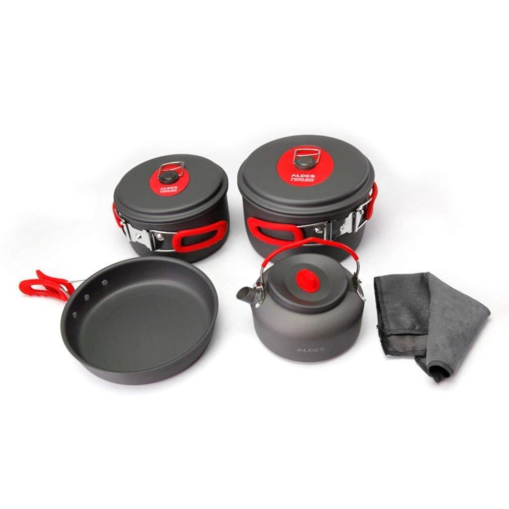 Jiobapiongxin ALOCS CW-C06S Outdoor Camping Kochgeschirr Set Bratpfanne Töpfe Bratpfanne Set Wasserkocher Geschirr cb08bd