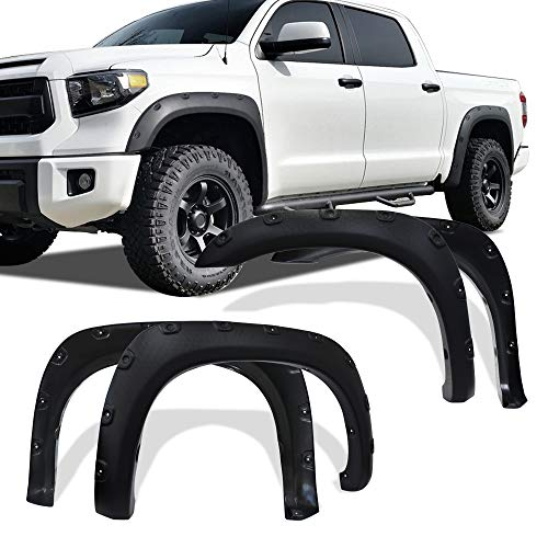 Fender Flares Kit for 2007-2013 Toyota Tundra, UV Protected Dura-Flex Material Textured Matte Black Finish Front Rear Fenders Pocket Rivet Style 4pcs