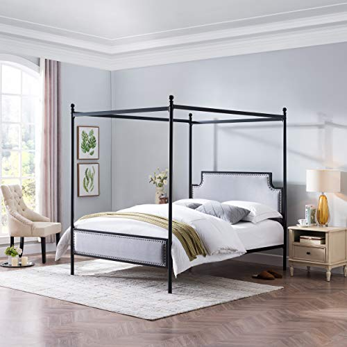Great Deal Furniture 308812 ASA Queen Size Iron Canopy Bed Frame with Upholstered Studded Headboard Gray and Flat Black