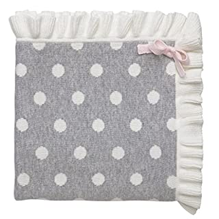 "Elegant Baby 100% Cotton Tightly Knit Blanket, Gray Dot, 30"" x 40"""