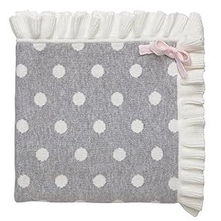 """Elegant Baby 100% Cotton Tightly Knit Blanket, Gray Dot, 30"""" x 40"""""""