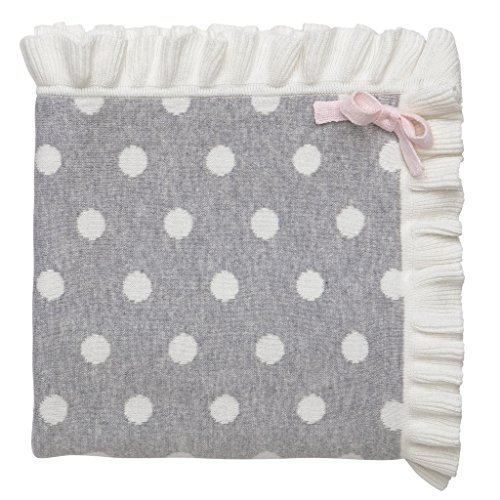 Elegant Baby 100% Cotton Tightly Knit Blanket, Gray Dot, 30