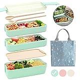 Ozazuco Bento Box Japanese Lunch Box, 3-In-1 Compartment, Wheat Straw,...