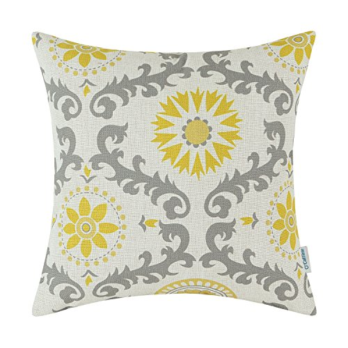 Throw Pillow Cover Floral yellow & Gray 18 X 18