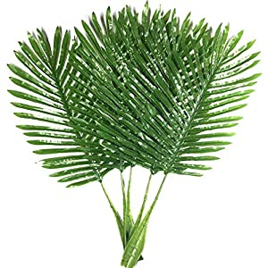 Warmter Palm Leaves Fake Faux Artificial Plant Leaves Green Single Leaf Palm for Home Kitchen Party Supplies Tropical Leaves Decorations 20