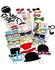 Tinksky 60 Piezas DIY Photo Booth Atrezzo Favorecer Incluyendo Bigotes Gafas Pelo Arcos Sombreros Labios spajaritas Coronas para el Partido, Boda, cumpleaños del Favor, de la graduación
