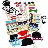 Tinksky Photo Booth Props 60 piece DIY Kit for Wedding Party Reunions Birthdays Photobooth Dress-up Accessories...