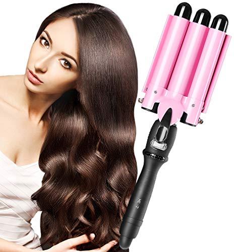 Hair Waver Hair Curling Iron Curling Wands Turbo Hair Curler 14x4'' Tourmaline Ceramic Hair Crimper Long Hair 3 Barrel Waver Instant Heat Curler Deep Waver Curler with Temperature Control (13.8x3.9'')