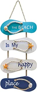 IOOI Nautical Beach Wooden Flip Flops Wall Hanging Decoration, Beach Theme Home Decoration, Retro Wall Decoration, Can Be Hung in The Living Room, Bedroom, Dining Room. (20.87 x 8.66 inches)