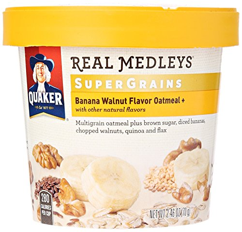 Quaker Instant Real Medleys Super Grains Oatmeal, Banana Walnut Breakfast Cereal