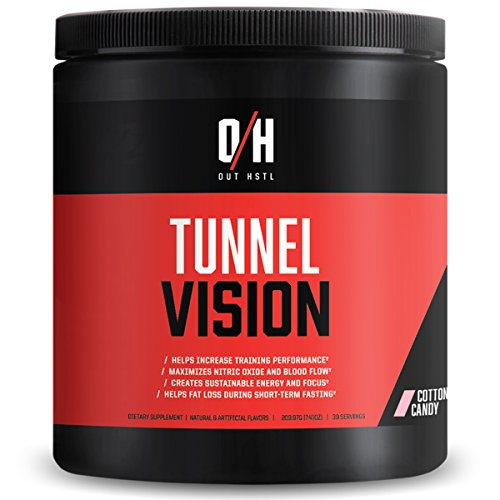 Out HSTL | Tunnel Vision | Pre-Workout Complex | Maximizes Nitric Oxide and Blood Flow | Trademark Ingredients That Helps to Increase Training Performance | 30 Servings (Cotton Candy)