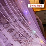 Dome Mosquito Net Princess Girls Bed Canopy with Lights Elegant Lace for Bedroom Baby Room
