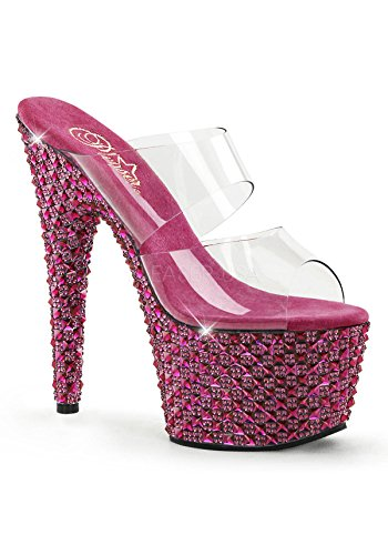 Pleaser BEJ702PS_C_HP-8 2.75 in. Two Band Platform Slide Shoe44; Pink & Clear44; Size 8