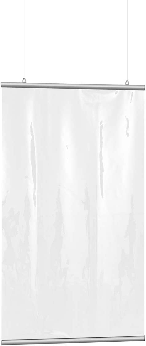BxH 118x140 cm Befestigung Vispronet/® Hygiene-Schutzvorhang ✓ Niesschutz//Hustenschutz//Spuckwand ✓ h/ängend ✓ inkl