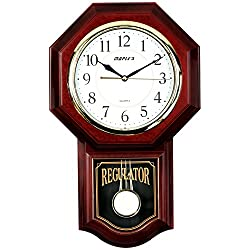 Maple's Clock Maple's Traditional Plastic Wall Clock with Pendulum, Brown