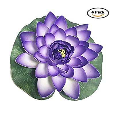 4 Pieces Floating Flower-Herxuhouse Floating Pond Decor Water Flower Foam Artificial Lotus for Home & Party Decoration & Holiday Celebration