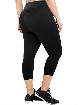 17fc23c3a94fd6 HDE Black Plus Size Leggings for Women Scrunch Butt Lifting Yoga Pants 1X