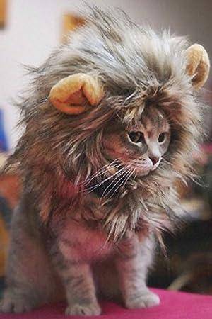 Aprettysunny Disfraz de Mascota Peluda Lion Mane Peluca para Gato Mascotas Ropa Disfrazarse con Orejas: Amazon.es: Productos para mascotas