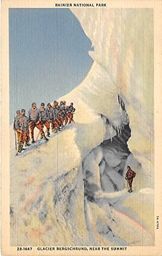 Rainier National Park, Glacier Bergschrund, near the Summit Washington, WA, USA Old Vintage Mountain Climbing Postcard Post Card