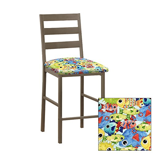 "1 - Solid Metal 24"" Tall Cocoa Brown Dining/Bar Stool Featuring the Choice of Your Favorite Novelty Theme Fabric Covered Seat Cushion (Large Colorful Fish) (Patio Furniture Banquette)"